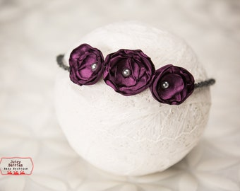 Purple Flowers Halo, Newborn Tieback,Small Baby Halo, Newborn Photo Prop, Halo Headband, Newborn Halo,Ivory Halo, Baby Tieback