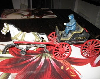 Cast Iron Horse Drawn Fire Chief