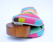 Soprano ukulele case - Colourful Pop - Colourful Stripe Ukulele Bag  with hidden pocket (Made to order)