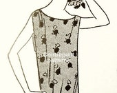 1920s dress sewing pattern. I shape (pencil dress) with an original flounce wrapping the skirt. Great for spring or autumn!