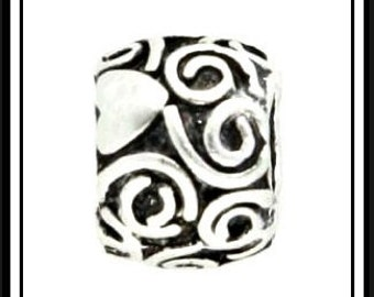 SPIRaLS - HEaRTS Design - Antique Silver Charm Bead - Excellent Quality - fits European Bracelets - MS-1186