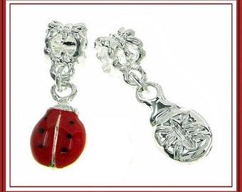 Cute - LADYBUG Beetle - Lady Bug - Red Enamel with Black Dots - Dangle Charm - fits European Bracelets - MD-