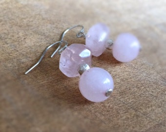 Rose Quartz Earrings - Pink Jewelry - Sterling Silver Jewellery - Dangle - Mod - Fashion - Gemstone