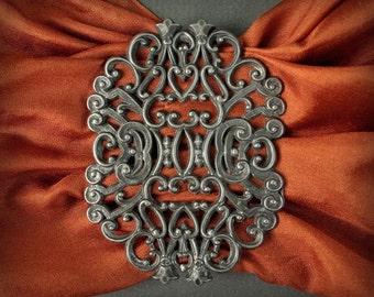 Victorian belt buckle, metal sash buckle, assemblage art piece