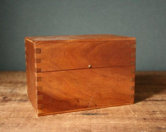 Wood recipe box, hardwood file box, index file box