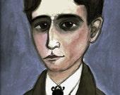 Franz Kafka, Writers Portrait Illustration, Literary Art Print (6x8) Victorian Goth Home Decor, Metamorphosis Beetle