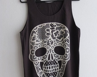 Flower Skull Tattoo Drawing Punk Goth Rock Tank Top M