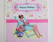 Cottage Chic Summery Birthday Card