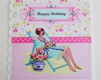 SALE  Cottage Chic Summery Birthday Card