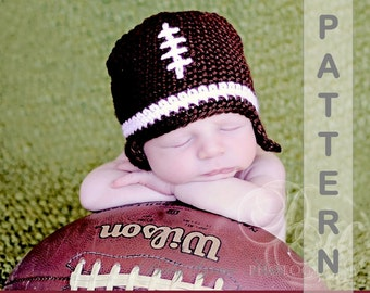 Crochet PATTERN, Baby Football Hat, Crochet Baby Hat Pattern, Newborn Hat, Easy Crochet Pattern, Baby Boy Hat, Newborn Photo Prop