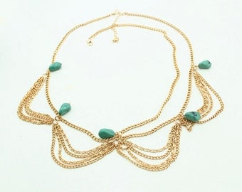 Gold Turquoise Beaded Hair Chain