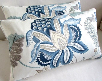 PAIR  Lumbar Throw Pillows 12x20  inserts included large bloom in blues