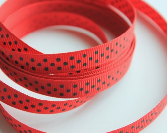 "3/8"" Grosgrain Ribbon Swiss Dots - Red with Hunter Green Dots - 25 yard spool"