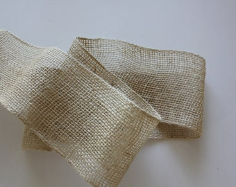 "4"" Cream Burlap Ribbon - 5 yard Piece of Burlap Trim - Burlap Bows"