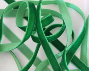"""3/8"""" Velvet Ribbon - Emerald Green - 5 yards"""