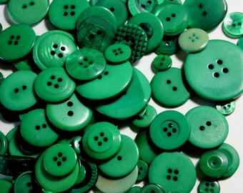 Green Buttons - Bag of Assorted Size Buttons - 2.3 oz