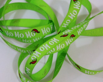 "3/8"" Ho Ho Ho Ribbon - Lime Green Christmas Ribbon - 5 Yards"