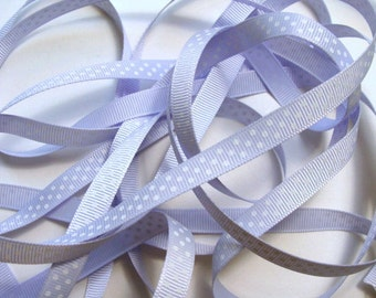 "3/8"" Grosgrain Ribbon Swiss Dots - Lilac - 5 yards"