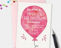Birthday Invitation, Balloon invitation, custom invitation, boy or girl invitation, 5x7 invitation, kids invitation, party invitation