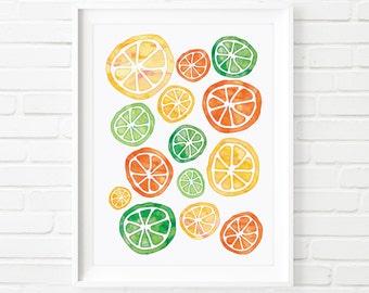Printable Art, Lemons Limes Oranges, kids decor, kids print, home decor, watercolor print, digital print, scandinavian art, kitchen decor