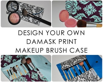 Damask Travel Brush Case // Design Your Own Brush Organizer - Compact Brush Storage - Gift for Her - Bridesmaid Gift - Made to Order