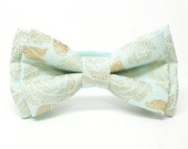Metallic Gold Floral Mint Bow Tie for all ages - pre tied bowtie, wedding, ring bearer, photo prop, holiday