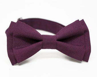 Plum Berry Purple Bow Tie for Boys, Toddlers, Baby - pre tied bowtie, wedding, photo prop