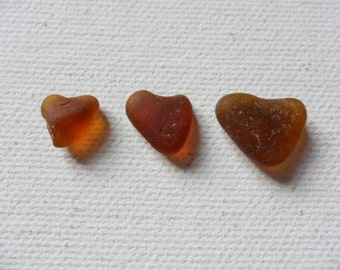 3 pretty amber brown sea glass hearts - Lovely English beach find pieces