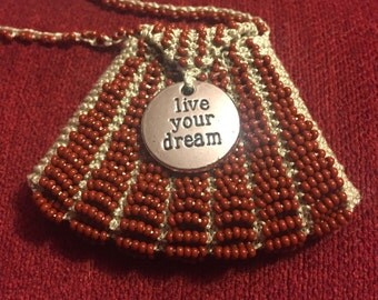 Live Your Dream Hand Knit Beaded Amulet Bag