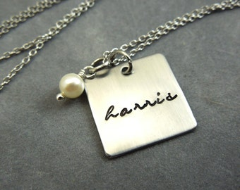 name necklace, personalized hand stamped stainless steel square necklace with pearl, mothers necklace