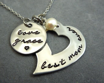 best mom ever, hand stamped stainless steel mothers necklace, gift for mom, from child, mom, grandma