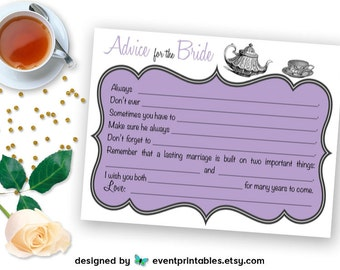 Bridal Shower Mad Libs, Tea Party Advice for the Bride Cards, Lavender Lilac Purple Shower Game, PRINTABLE DIGITAL FILE by Event Printables