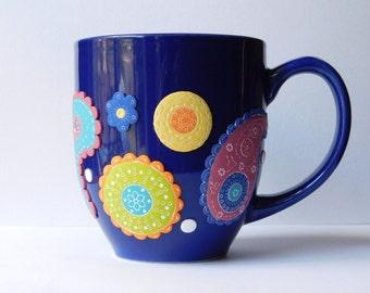 Paisley Coffee Mug, polymer clay designs, blue coffee cup, coffee cup planter