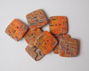 Orange and Gray polymer clay buttons, 24 mm square buttons, 1 inch, set of 8