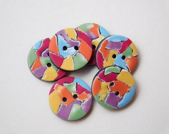 9/16 inch Buttons, 14 mm polymer clay round sewing buttons, Rainbow Buttons