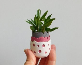 Mini Polymer Clay Planter, small flower pot / flower vase