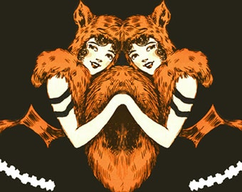 Fox Girls Vintage Style Art Print Twins Orange and Black and White Home Decor