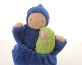 Blue pocket doll natural fiber waldorf  mother and baby tooth fairy PMF1
