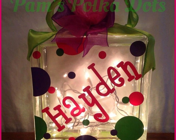 Customized LIGHTED GLASS BLOCK with Kid's Name or Monogram, Polka Dots & Ribbon Baby or Birthday Gift or as Night Light in Child's Bedroom