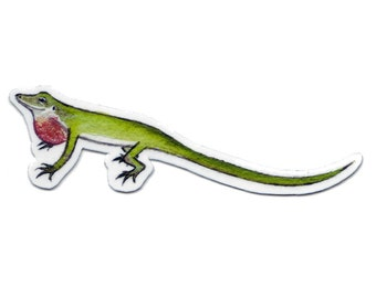 Green Anole Lizard Magnet / Wildlife Art / Refrigerator Magnet / Office Magnet / Party Favor / Small Gift