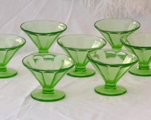 Green Sherbert Glasses Federal, Fluted Optical Depression Glass Bowls, Green Glass Ice Cream Dishes