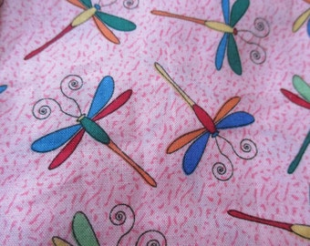 dragonflies fabric bright colors on pink background fat quarter