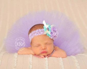 Purple tutu and headband set for baby girl