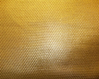 "Vinyl Faux Leather Fabric Basket Weave Tile Upholstery/ Metallic Gold 54"" Wide - By the Yard"