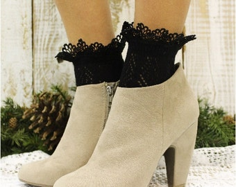 Lace sock in black, lace socks womens socks lace socks heels ladies hosiery lacey socks anklets pointelle knit Catherine Cole Studio CS10