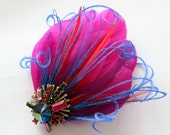 Bridal Wedding Bridesmaid Feather Hair Accessory, Feather Fascinator, Prom Hair Piece, Fuschia, Hot Pink, Purple, Blue