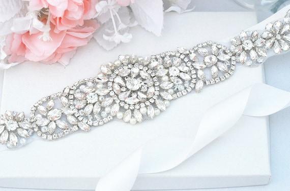 Wedding Belt, Bridal Belt, Sash Belt, Crystal Rhinestones & Pearls sash party sash