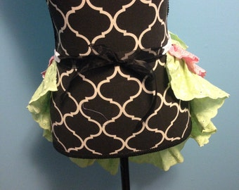 Steampunk Ruffle Bustle Pink and Green Eyelet Trim  READY TO SHIP