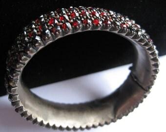 Antique Five Row Garnet Bracelet