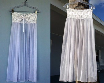 Strapless Flowing Nightgown Doubles as Skirt / White Flowing Nightie / Elastic Bust / Vintage Lingerie